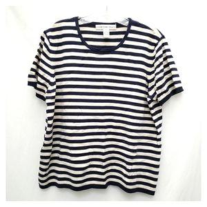 Josephine Chaus Navy Blue & White Striped Sweater